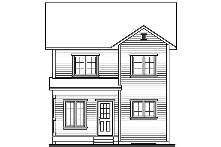 Home Plan Rear Elevation of this 3-Bedroom,1245 Sq Ft Plan -126-1272