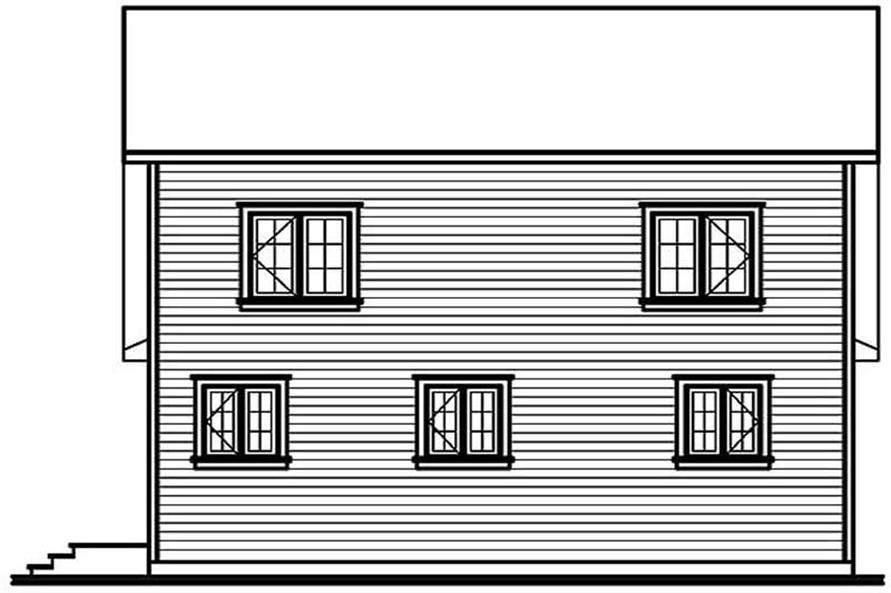 Home Plan Rear Elevation of this 2-Bedroom,1170 Sq Ft Plan -126-1274