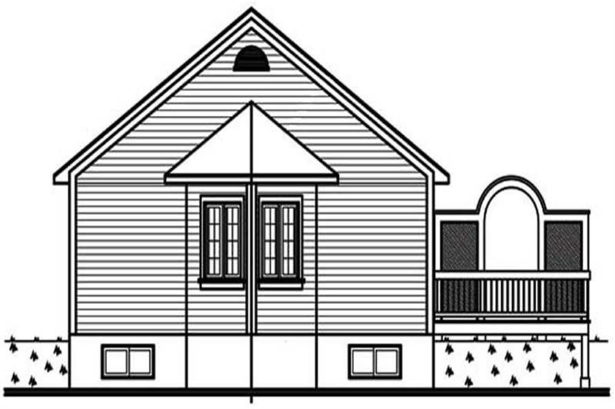 Home Plan Rear Elevation of this 2-Bedroom,1069 Sq Ft Plan -126-1278