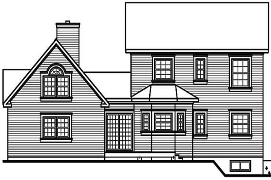 Home Plan Rear Elevation of this 4-Bedroom,2252 Sq Ft Plan -126-1279
