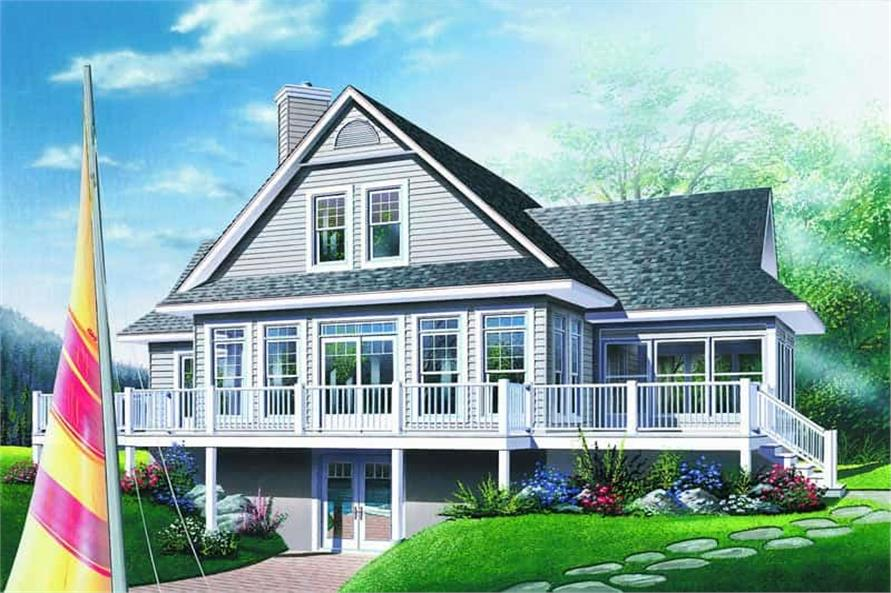Home Plan Rear Elevation of this 3-Bedroom,1832 Sq Ft Plan -126-1281