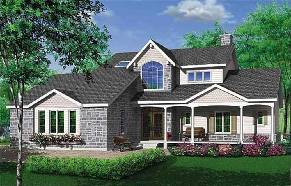 Color rendering of Country home plan (ThePlanCollection: House Plan #126-1282)