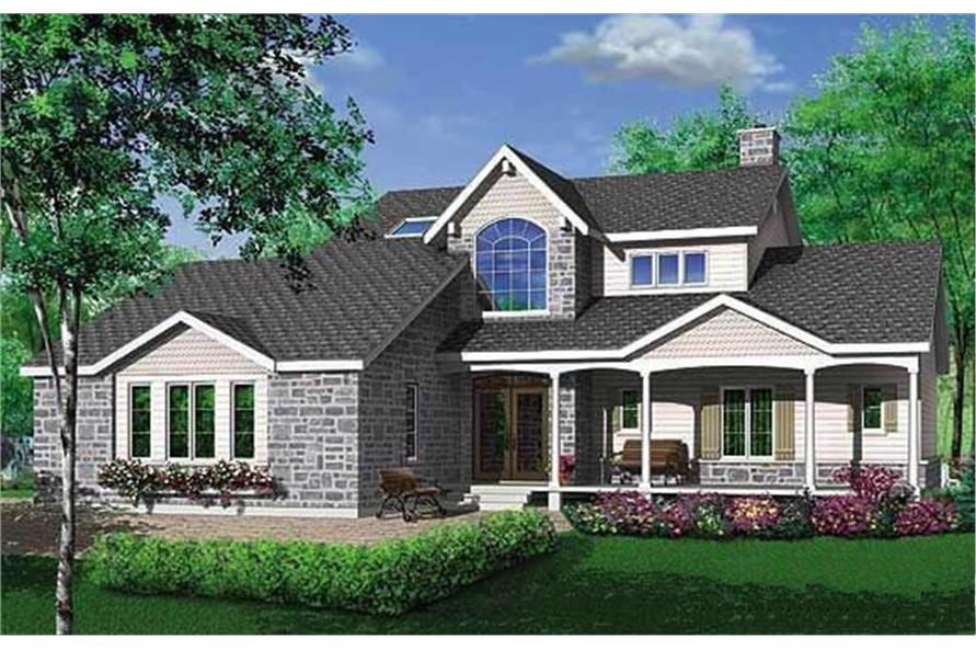 3-Bedroom, 1922 Sq Ft Country House Plan - 126-1282 - Front Exterior