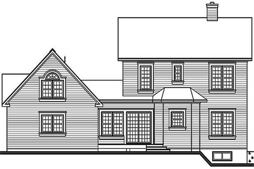 Home Plan Rear Elevation of this 3-Bedroom,1938 Sq Ft Plan -126-1284