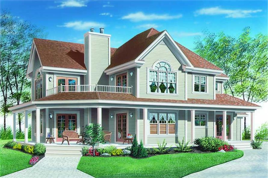 Main Elevation of this 3-Bedroom,2300 Sq Ft Plan -2300