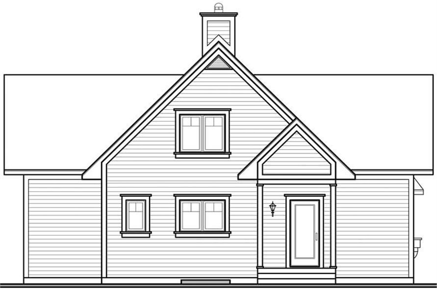 Home Plan Rear Elevation of this 2-Bedroom,1480 Sq Ft Plan -126-1287
