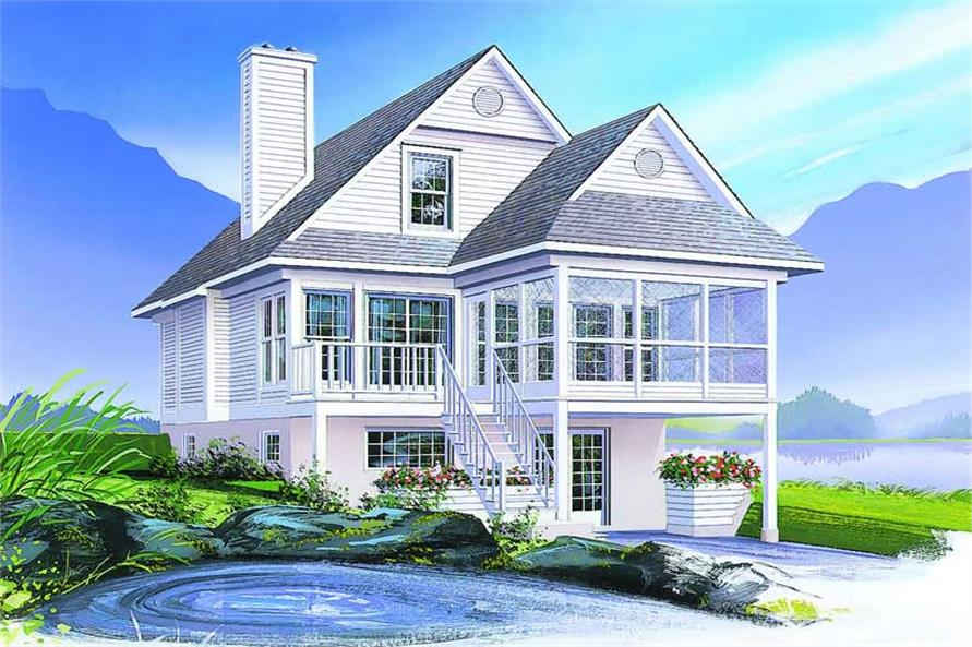 3-Bedroom, 1484 Sq Ft Country Home Plan - 126-1288 - Main Exterior