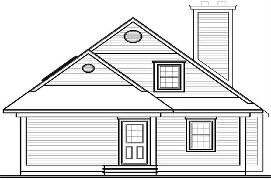 Home Plan Rear Elevation of this 3-Bedroom,1484 Sq Ft Plan -126-1288