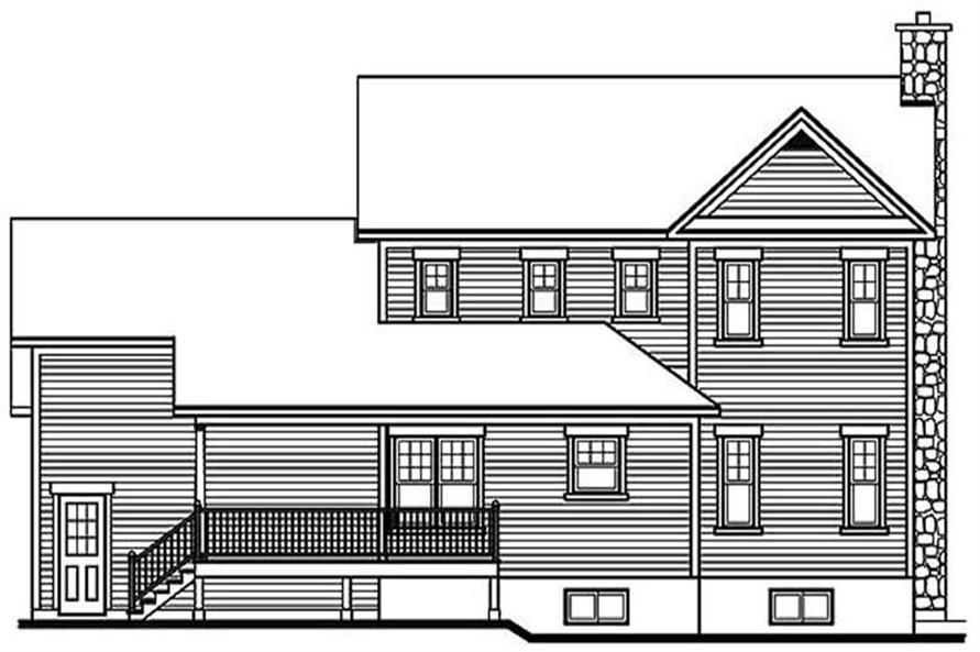 Home Plan Rear Elevation of this 3-Bedroom,2089 Sq Ft Plan -126-1289