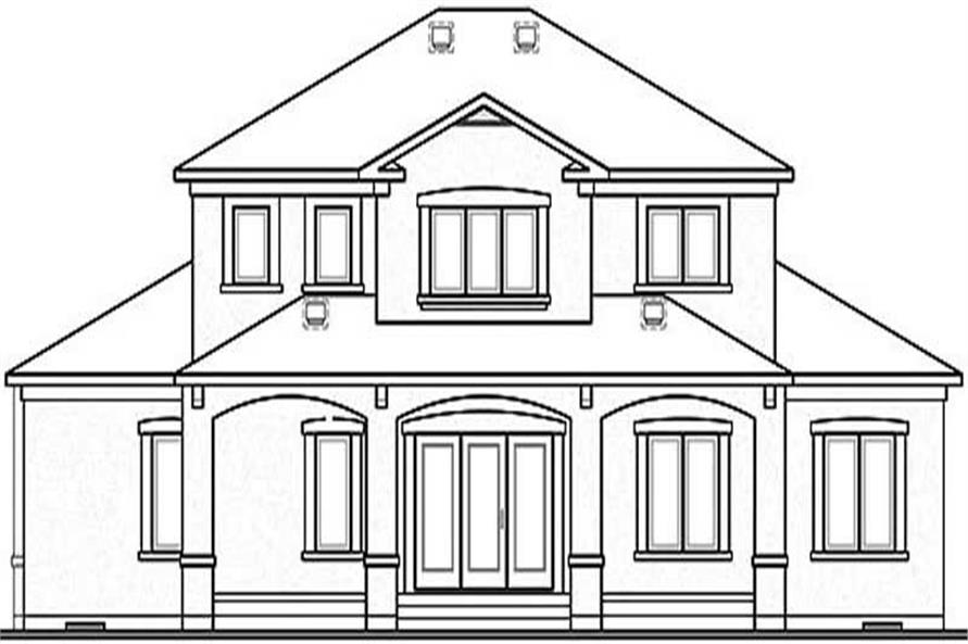 Home Plan Rear Elevation of this 6-Bedroom,3016 Sq Ft Plan -126-1290