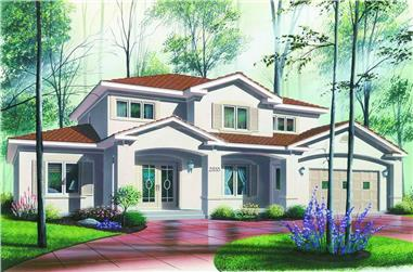 Front elevation of Contemporary home (ThePlanCollection: House Plan #126-1290)