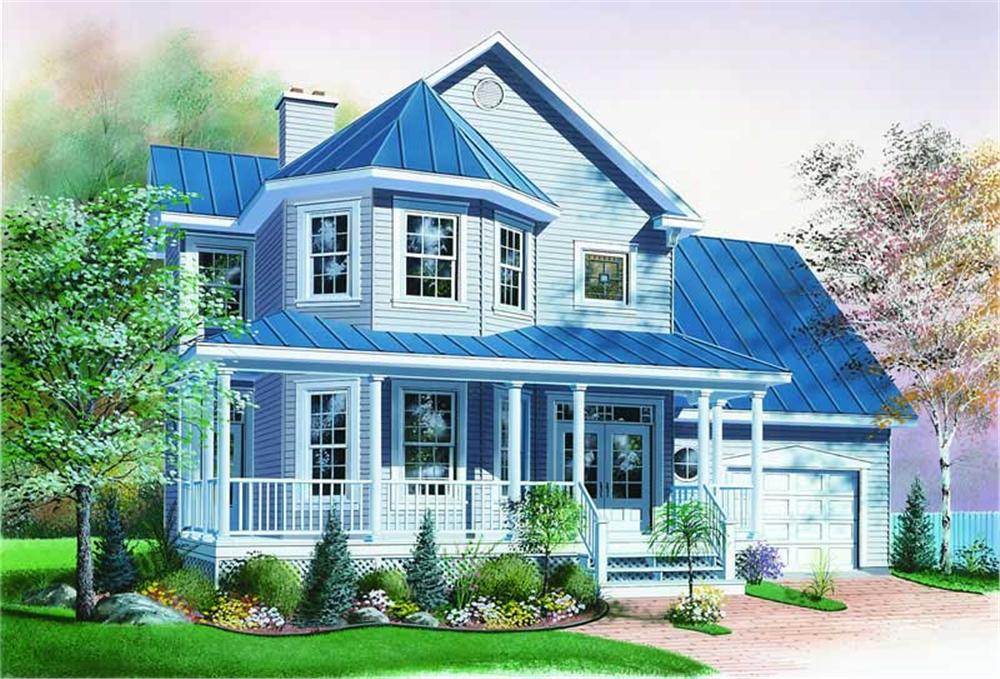 Country style home (ThePlanCollection: Plan #126-1291)