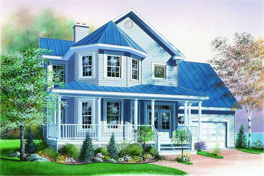 3-Bedroom, 1760 Sq Ft Country House Plan - 126-1291 - Front Exterior