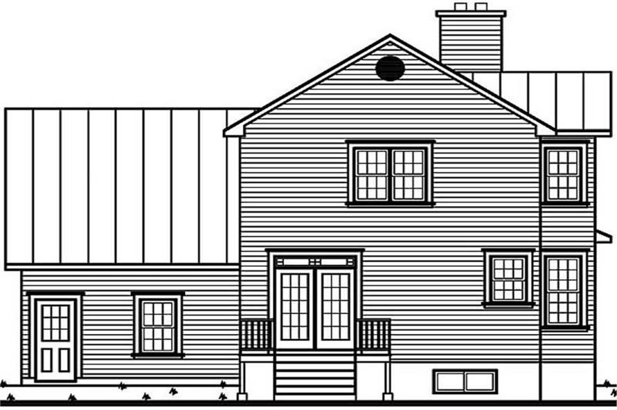 Home Plan Rear Elevation of this 3-Bedroom,1760 Sq Ft Plan -126-1291
