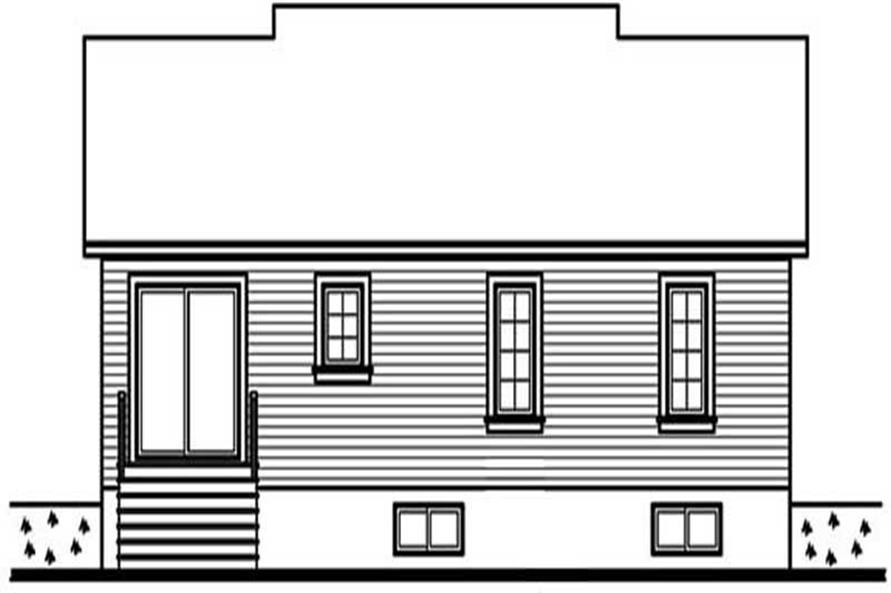 Home Plan Rear Elevation of this 3-Bedroom,1053 Sq Ft Plan -126-1292