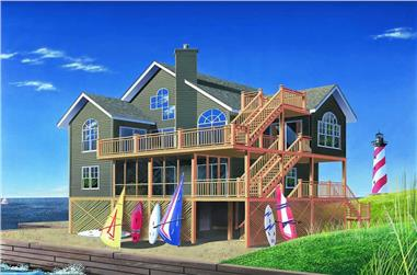 5-Bedroom, 2380 Sq Ft Vacation Homes House Plan - 126-1299 - Front Exterior
