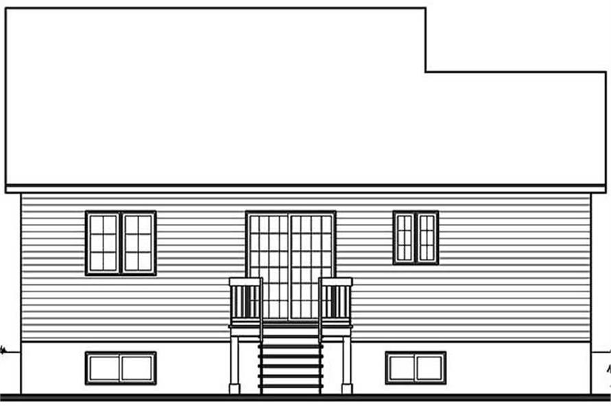 Home Plan Rear Elevation of this 2-Bedroom,920 Sq Ft Plan -126-1300