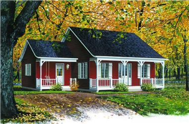 2-Bedroom, 920 Sq Ft Country House Plan - 126-1300 - Front Exterior