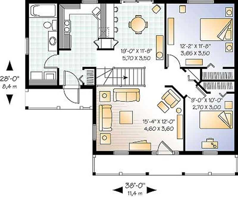 Country ranch home plan 2 bedrms 1 baths 920 sq ft for 1300 sq ft house plans 2 story