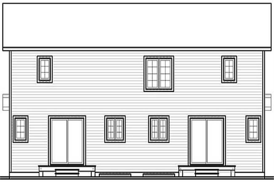Home Plan Rear Elevation of this 3-Bedroom,1086 Sq Ft Plan -126-1302