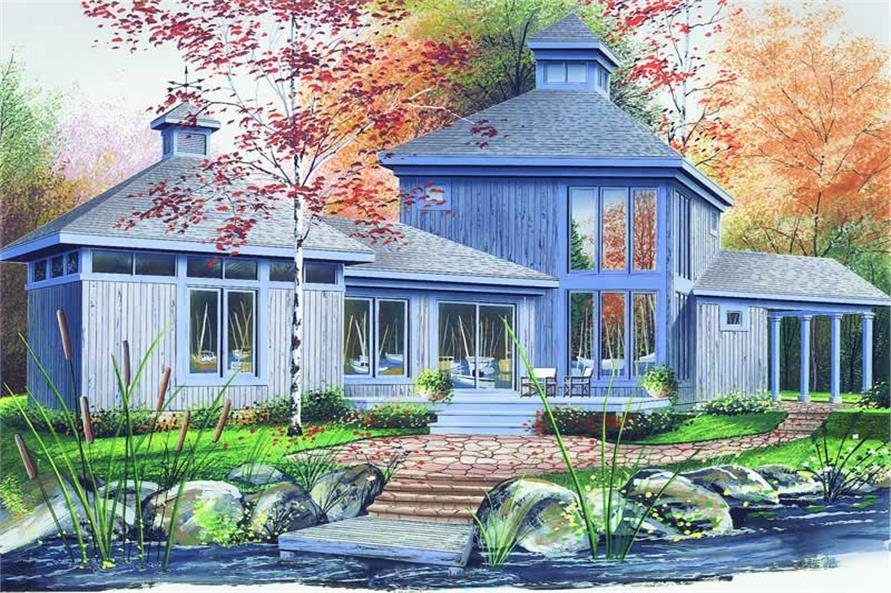 2-Bedroom, 1222 Sq Ft Contemporary House Plan - 126-1303 - Front Exterior