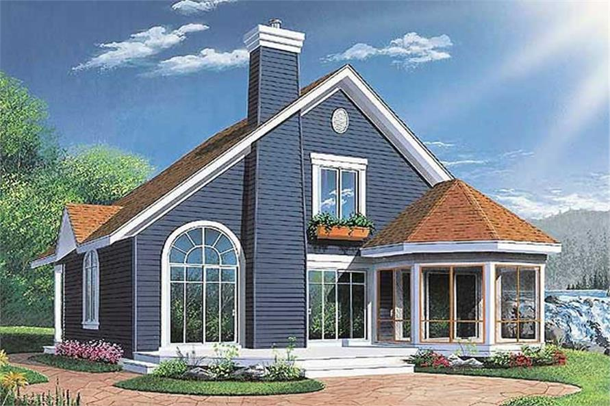 Home Plan Rear Elevation of this 3-Bedroom,1468 Sq Ft Plan -126-1304