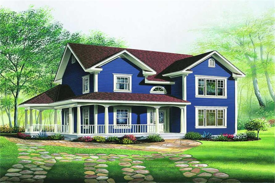3-Bedroom, 1634 Sq Ft Country House Plan - 126-1305 - Front Exterior
