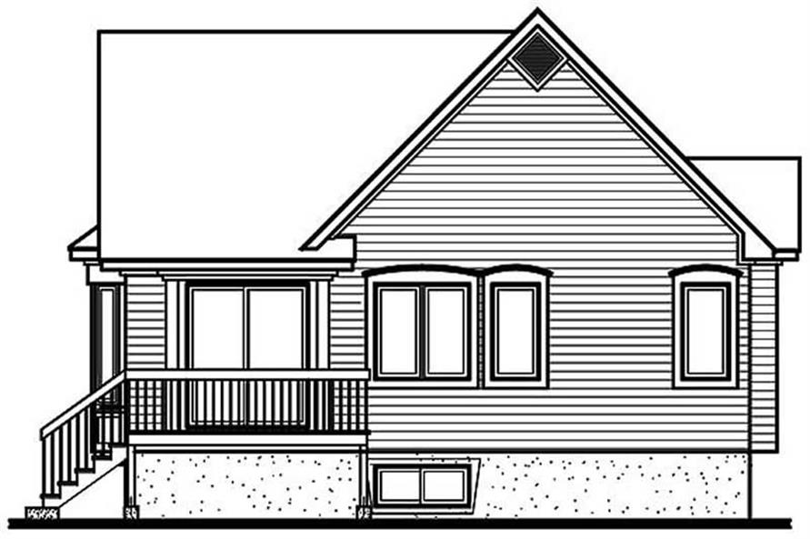 Home Plan Rear Elevation of this 2-Bedroom,1103 Sq Ft Plan -126-1306