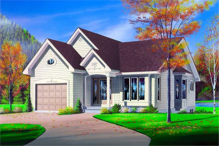 2-Bedroom, 1103 Sq Ft Bungalow House Plan - 126-1306 - Front Exterior