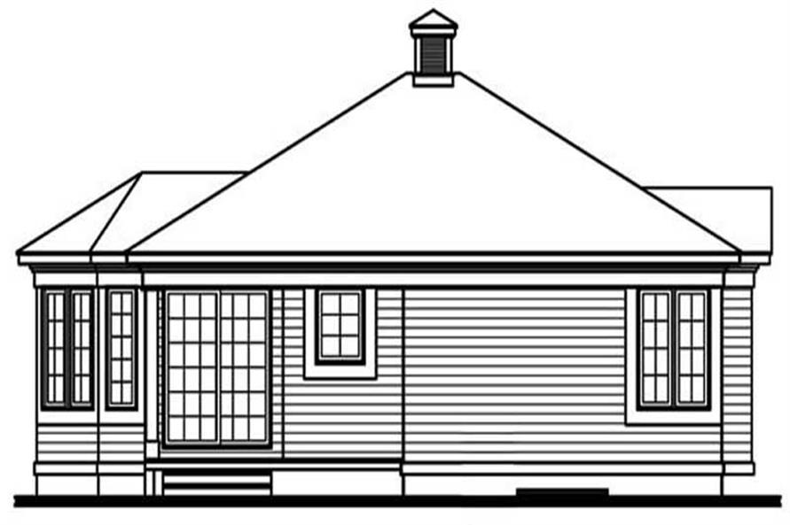 Home Plan Rear Elevation of this 2-Bedroom,972 Sq Ft Plan -126-1308