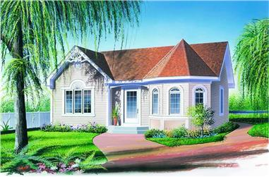 2-Bedroom, 972 Sq Ft Small House Plans - 126-1308 - Front Exterior