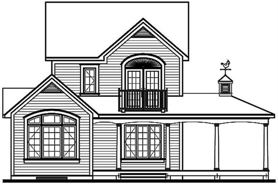 Home Plan Rear Elevation of this 3-Bedroom,1304 Sq Ft Plan -126-1310