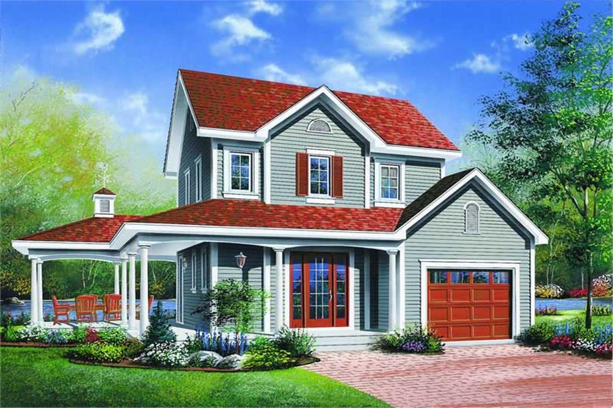 3-Bedroom, 1304 Sq Ft Country House Plan - 126-1310 - Front Exterior