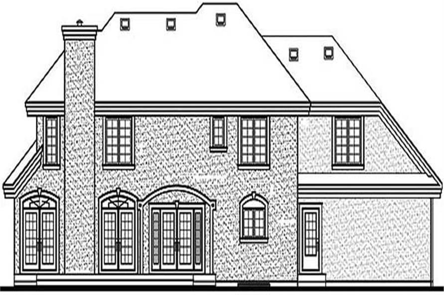 Home Plan Rear Elevation of this 4-Bedroom,4200 Sq Ft Plan -126-1311