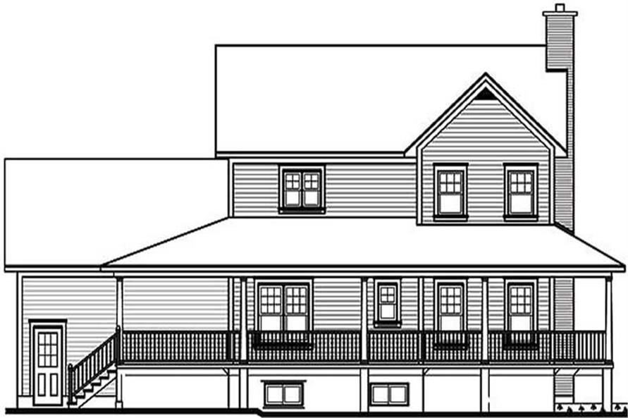 Home Plan Rear Elevation of this 3-Bedroom,2119 Sq Ft Plan -126-1312