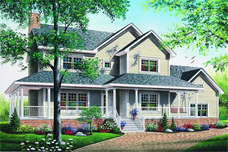 3-Bedroom, 2119 Sq Ft Country House Plan - 126-1312 - Front Exterior