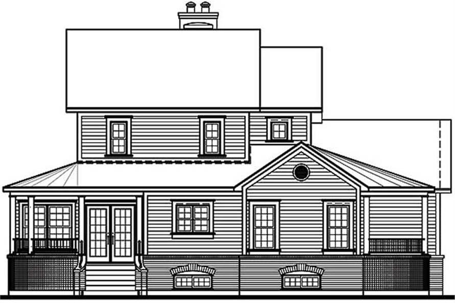 Home Plan Rear Elevation of this 4-Bedroom,2333 Sq Ft Plan -126-1313