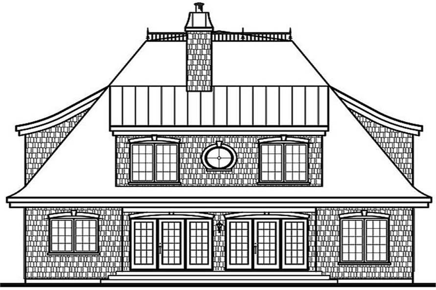 Home Plan Rear Elevation of this 4-Bedroom,2641 Sq Ft Plan -126-1317