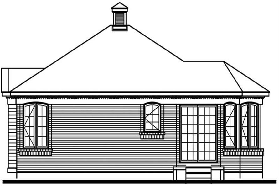 Home Plan Rear Elevation of this 2-Bedroom,1085 Sq Ft Plan -126-1320