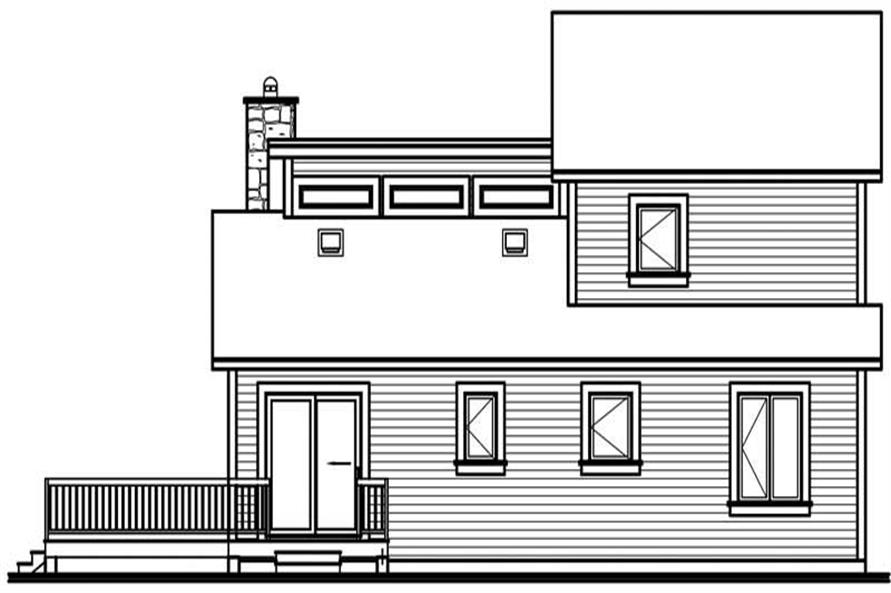 Home Plan Rear Elevation of this 3-Bedroom,1516 Sq Ft Plan -126-1323