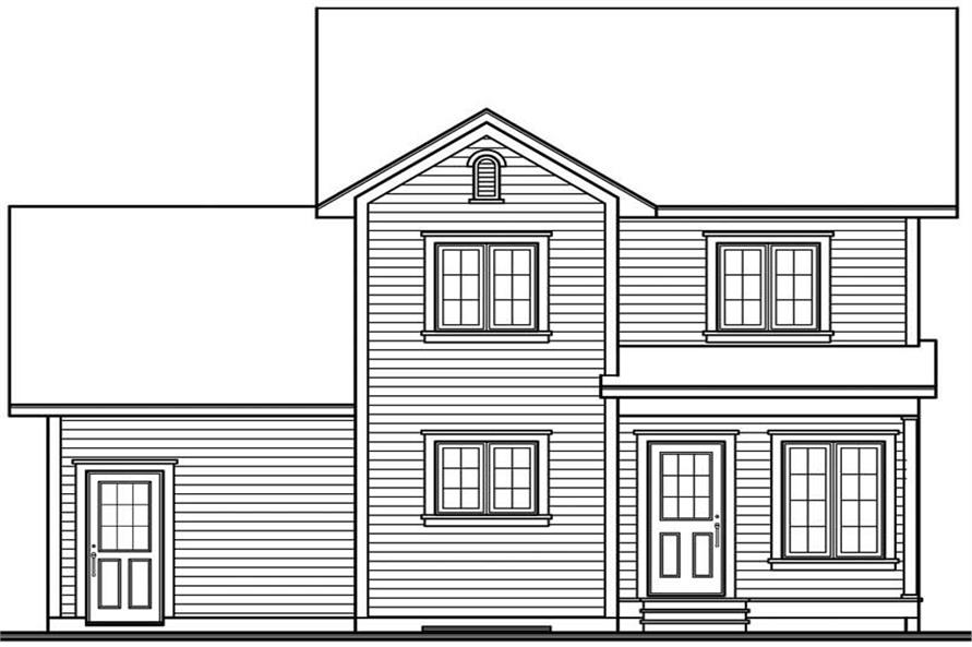 Home Plan Rear Elevation of this 3-Bedroom,1252 Sq Ft Plan -126-1324