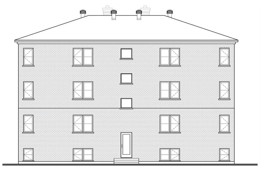 Home Plan Rear Elevation of this 16-Bedroom,7624 Sq Ft Plan -126-1325