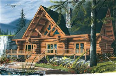 4-Bedroom, 3493 Sq Ft Log Cabin Home Plan - 126-1327 - Main Exterior