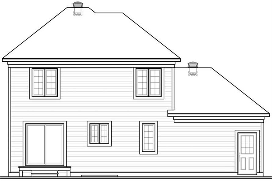 Home Plan Rear Elevation of this 3-Bedroom,1404 Sq Ft Plan -126-1328