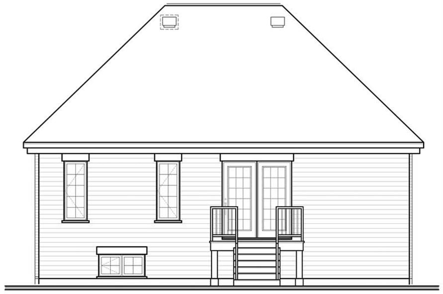 Home Plan Rear Elevation of this 1-Bedroom,940 Sq Ft Plan -126-1330