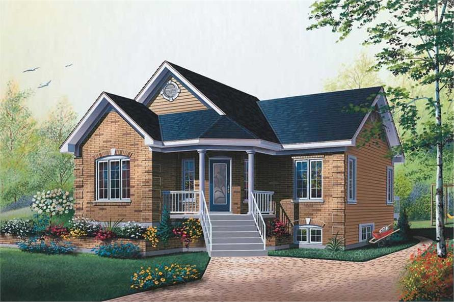 2-Bedroom, 1019 Sq Ft Bungalow Home Plan - 126-1331 - Main Exterior
