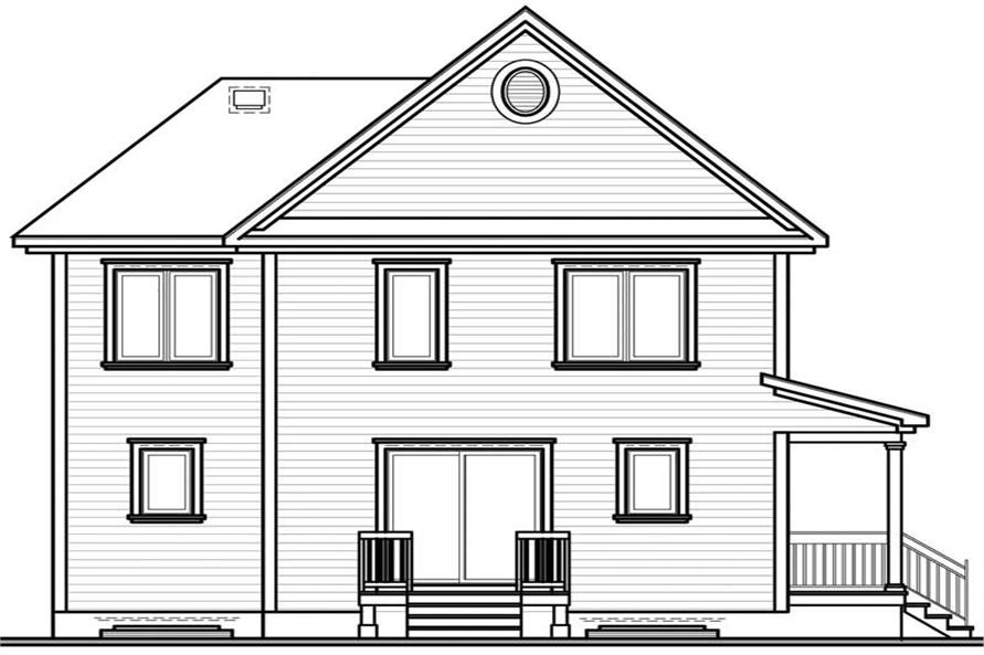 Home Plan Rear Elevation of this 3-Bedroom,1604 Sq Ft Plan -126-1337