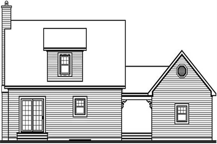 Home Plan Rear Elevation of this 2-Bedroom,1315 Sq Ft Plan -126-1338