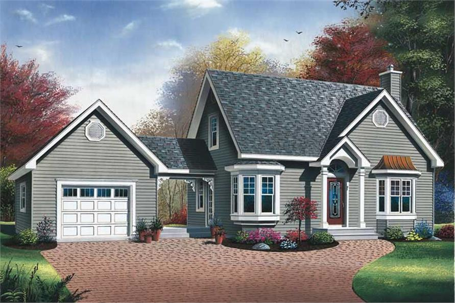 2-Bedroom, 1315 Sq Ft Country House Plan - 126-1338 - Front Exterior
