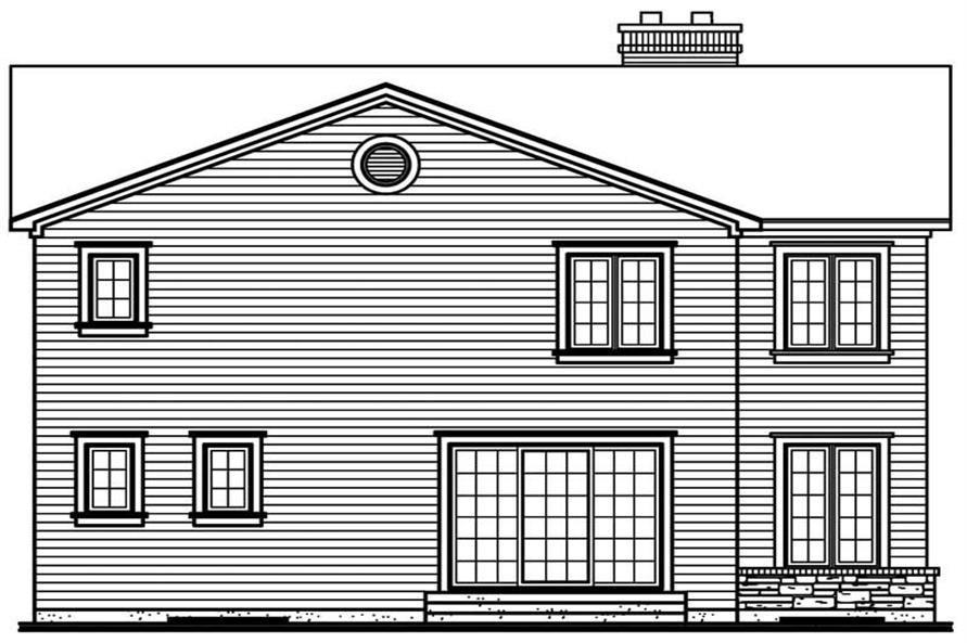 Home Plan Rear Elevation of this 3-Bedroom,1960 Sq Ft Plan -126-1343